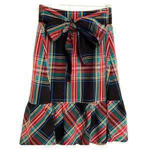 J..Crew Tartan plaid ruffle hem a-line skirt.